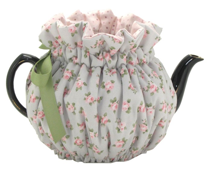 Wrap Around Tea Cozy 6 Cup Baby Blue Roses